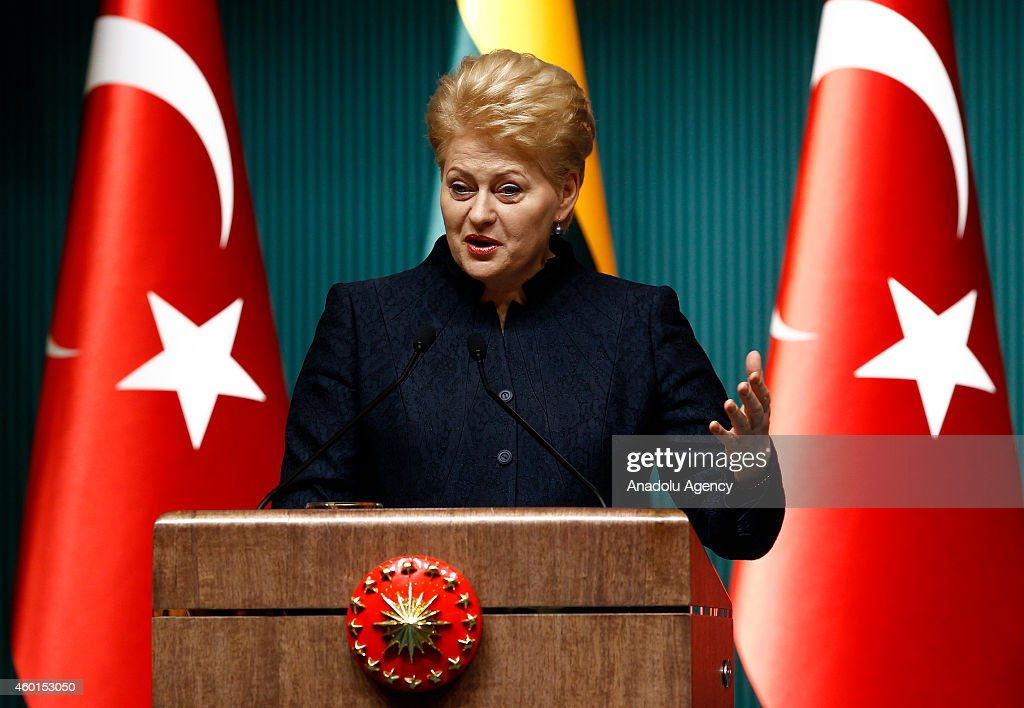 Lithuanian President <a gi-track='captionPersonalityLinkClicked' href=/galleries/search?phrase=Dalia+Grybauskaite&family=editorial&specificpeople=654850 ng-click='$event.stopPropagation()'>Dalia Grybauskaite</a> and Turkish President Recep Tayyip Erdogan (not seen) hold a joint press conference following their meeting at the presidential palace in Ankara, Turkey on December 08, 2014.