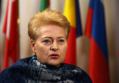 Lithuanian President Dalia Grybauskaite arrives at the Council of the European Union on February 18 2016 in Brussels Belgium Most of Europe's 28...