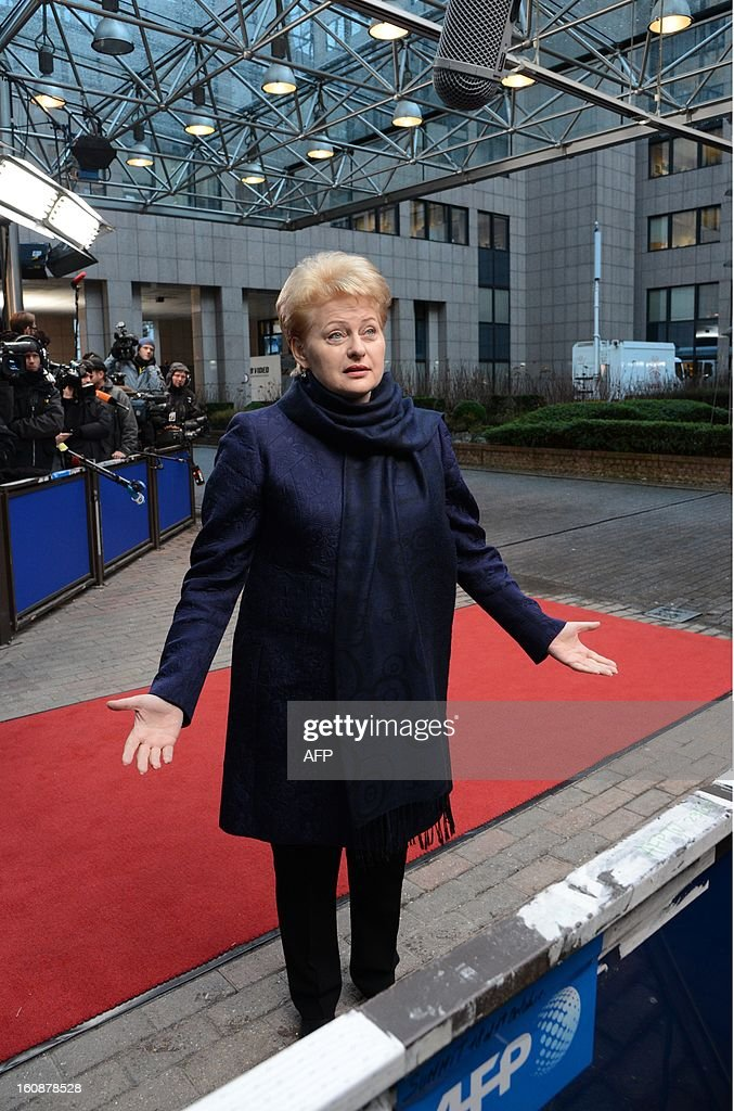 Lithuanian President Dalia Grybauskaite arrives at the EU Headquarters on February 7, 2013 in Brussels, on the first day of a two-day European Union leaders summit. European Union leaders head into a fresh clash over the EU's budget with the only certainty being that proposals for several years will be cut back.