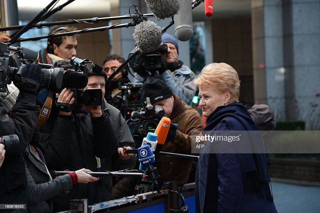 Lithuanian President Dalia Grybauskaite arrives at the EU Headquarters on February 7, 2013 in Brussels, on the first day of a two-day European Union leaders summit. European Union leaders head into a fresh clash over the EU's budget with the only certainty being that proposals for several years will be cut back. AFP PHOTO / THIERRY CHARLIER
