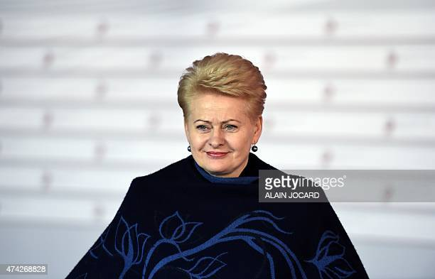 Lithuanian President Dalia Grybauskaite arrives at the House of the Blackhead for an informal dinner at the start of the fourth European Union...