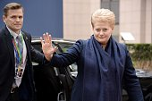 Lithuanian President Dalia Grybauskaite arrives for a European Union summit in Brussels on March 20 2015 AFP PHOTO / THIERRY CHARLIER
