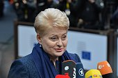 Lithuanian President Dalia Grybauskaite arrives for the European Council meeting at the European Council headquarters in Brussels Belgium on December...