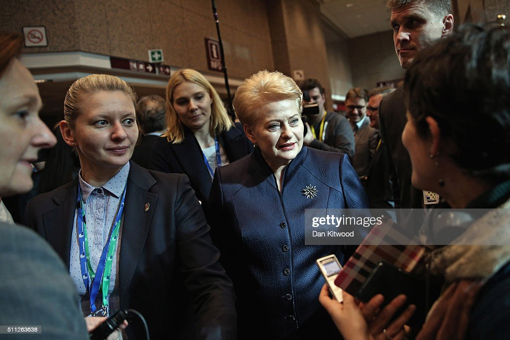 Lithuanian President <a gi-track='captionPersonalityLinkClicked' href=/galleries/search?phrase=Dalia+Grybauskaite&family=editorial&specificpeople=654850 ng-click='$event.stopPropagation()'>Dalia Grybauskaite</a> conducts interviews during the second day of the EU Summit as British Prime Minister David Cameron continues his attempts to negotiate new membership terms for the UK, on February 19, 2016 in Brussels, Belgium. Most of Europe's 28 member state leaders have gathered in Brussels to take part in a crucial summit and vote on British Prime Minister David Cameron's pledge to renegotiate the terms of Britain's membership in the EU, namely proposals to limit benefits for migrant workers. A referendum on whether Great Britain will stay in or leave the European Union is to be held before the end of 2017, though many expect it to take place in June this year. arrives during the second day of the EU Summit as British Prime Minister David Cameron continues his attempts to negotiate new membership terms for the UK, at the Council of the European Union on February 19, 2016 in Brussels, Belgium. Most of Europe's 28 member state leaders have gathered in Brussels to take part in a crucial summit and vote on British Prime Minister David Cameron's pledge to renegotiate the terms of Britain's membership in the EU, namely proposals to limit benefits for migrant workers. A referendum on whether Great Britain will stay in or leave the European Union is to be held before the end of 2017, though many expect it to take place in June this year.