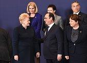 Lithuanian President Dalia Grybauskaite French President Francois Hollande Latvian Prime Minister Laimdota Straujuma Danish Prime Minister Helle...