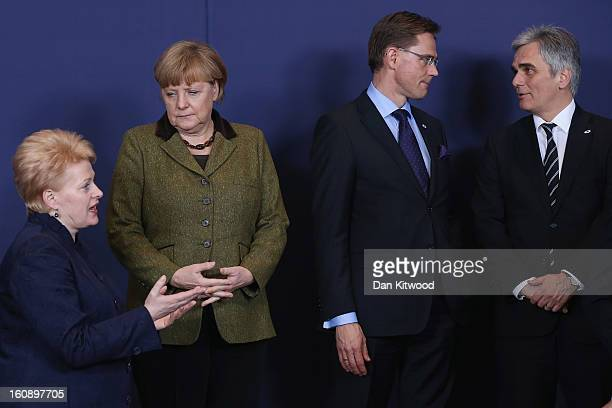 Lithuanian President Dalia Grybauskaite German Chancellor Angela Merkel Finish Prime Minister Jyrki Katainen and Austrian Chancellor Werner Faymann...