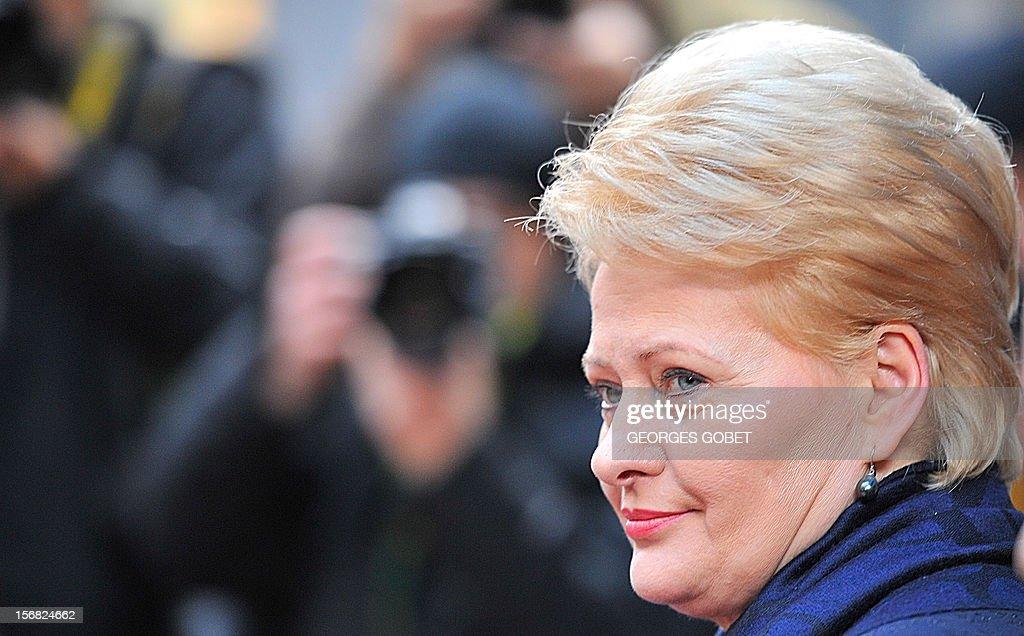 Lithuanian President Dalia Grybauskaite leaves the EU Headquarters on November 22, 2012 in Brussels, during in a two-day European Union leaders summit called to agree a hotly-contested trillion-euro budget through 2020. European Union officials were scrambling to find an all but impossible compromise on the 2014-2020 budget that could successfully move richer nations looking for cutbacks closer to poorer ones who look to Brussels to prop up hard-hit industries and regions.