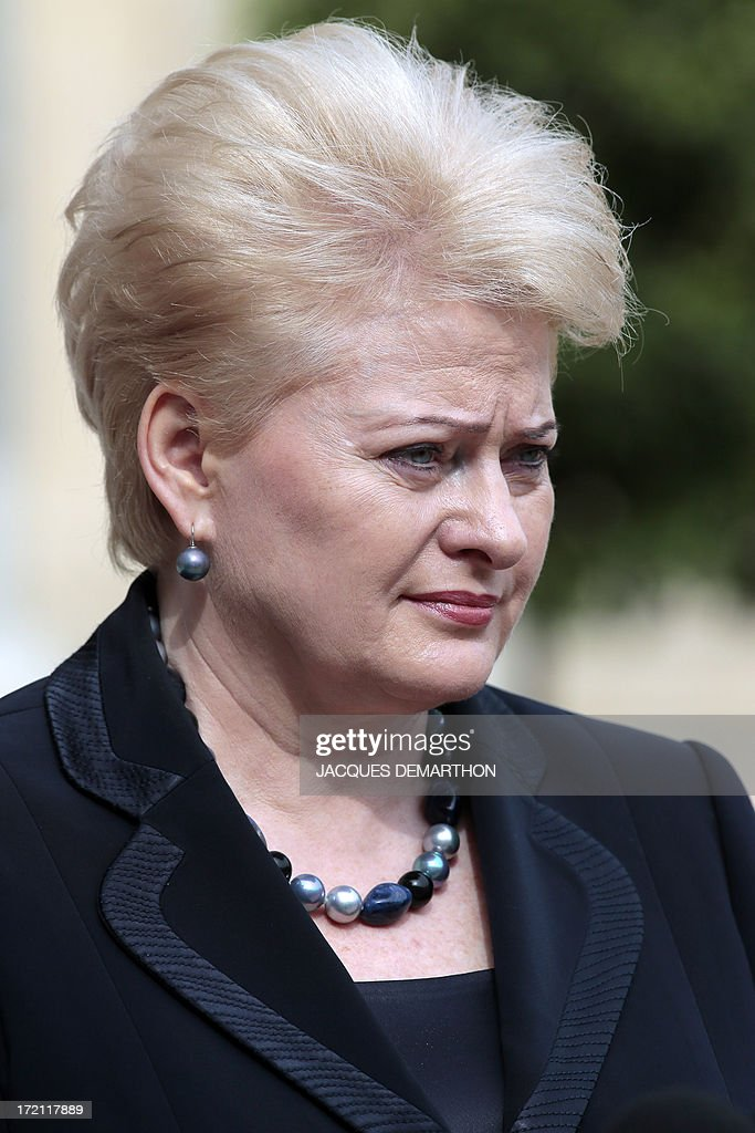 Lithuanian president Dalia Grybauskaite looks on after her meeting with French President Francois Hollande on July 2, 2013 at the Elysee palace in Paris. Grybauskaite, whose country took over the EU presidency on July 1, met Hollande today amid European concerns over allegations of US spying on its offices. AFP PHOTO/ JACQUES DEMARTHON