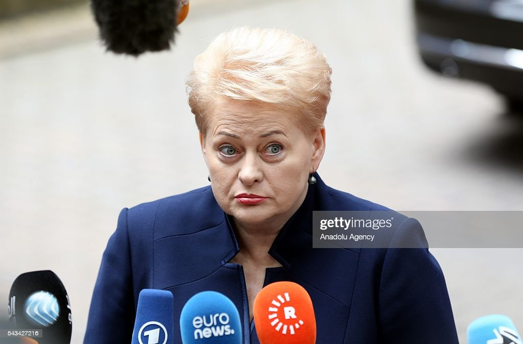 Lithuanian President Dalia Grybauskaite speaks to media before attending the EU summit meeting on June 28, 2016 at the European Union headquarters in Brussels.