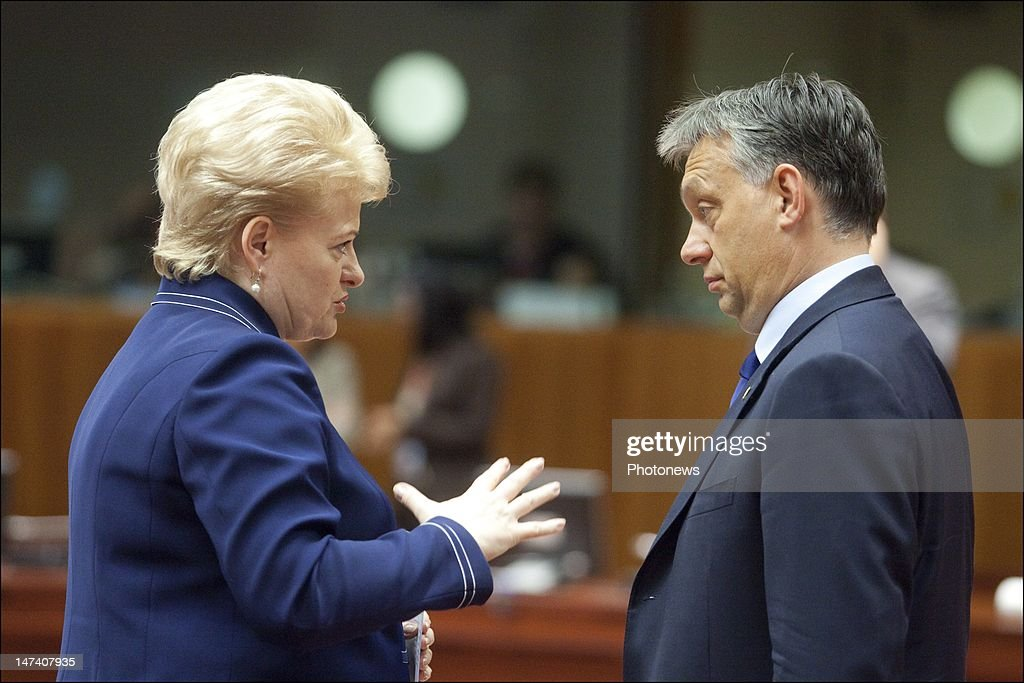 Lithuanian President <a gi-track='captionPersonalityLinkClicked' href=/galleries/search?phrase=Dalia+Grybauskaite&family=editorial&specificpeople=654850 ng-click='$event.stopPropagation()'>Dalia Grybauskaite</a> speaks with Hungarian Prime Minister <a gi-track='captionPersonalityLinkClicked' href=/galleries/search?phrase=Viktor+Orban&family=editorial&specificpeople=4685765 ng-click='$event.stopPropagation()'>Viktor Orban</a> on the second day of the European Summit on June 29, 2012 in Brussels, Belgium. Leaders are meeting to discuss the Multiannual Financial Framework, the European Semester and the European growth agenda.