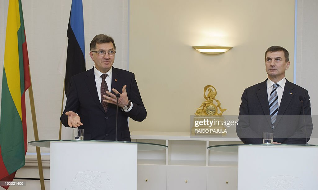 Lithuanian Prime Minister Algirdas Butkevicius (L) and Estonian counterpart Andrus Ansip address a press conference in Tallinn on January 24, 2013.