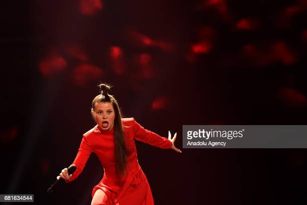 Lithuania's Fusedmarc performs the song 'Rain of Revolution' during the second semifinal dress rehearsal of Eurovision Song Contest 2017 at the...