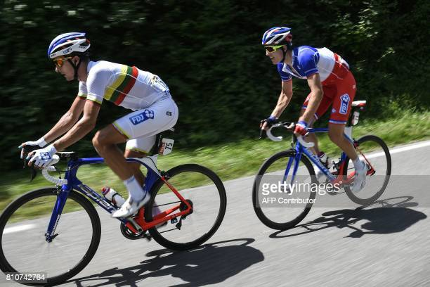Lithuania's Ignatas Konovalovas and his teammate France's Arnaud Demare ride during the 1875 km eighth stage of the 104th edition of the Tour de...