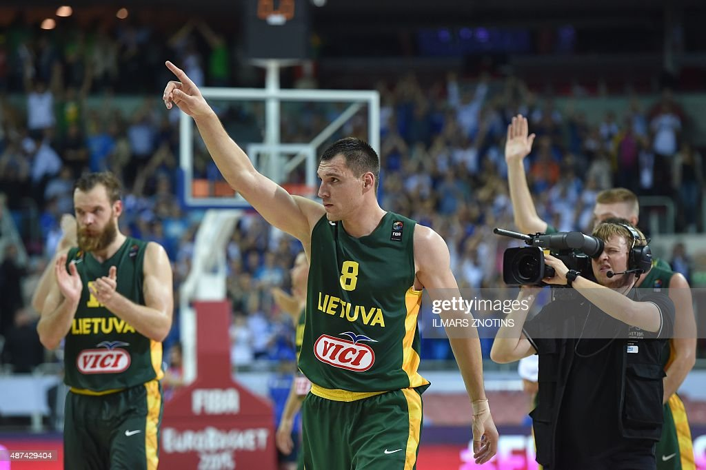 Lithuania's Jonas Maciulis react after the Eurobasket 2015 group D basketball match Estonia vs Lithunia in Riga on September 9 2015 AFP PHOTO/ ILMARS...