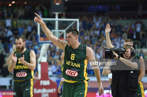 Lithuania's Jonas Maciulis react after the Eurobasket 2015 group D basketball match Estonia vs Lithunia in Riga on September 9 2015 AFP PHOTO/ ILMARS...