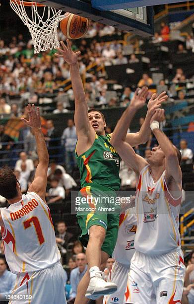Lithuania's Linas Kleiza takes aim at the basket during the FIBA World Championship 2006 quarterfinal game between Spain and Lithuania at the Saitama...