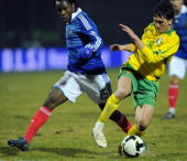 Lithuania's midfielder Deividas Cesnauskis vies with France's forward Peguy Luyindula during the World Cup 2010 qualifying football match Lithuania...