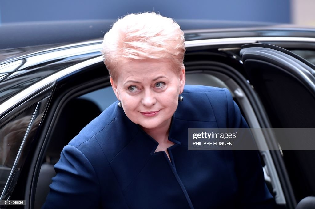 Lithuania's President Dalia Grybauskaite arrives before an EU summit meeting on June 28, 2016 at the European Union headquarters in Brussels. / AFP / PHILIPPE