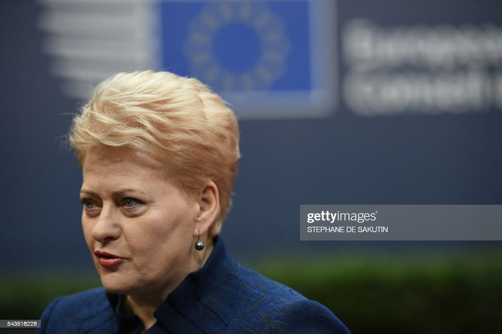 Lithuania's President Dalia Grybauskaite arrives before an EU summit meeting on June 29, 2016 at the European Union headquarters in Brussels. European Union leaders will assess the damage from Britain's decision to leave the bloc and try to prevent further disintegration, as they meet for the first time without a British representative on June 29, 2016. And as the shockwaves reverberate around British politics, Scottish First Minister Nicola Sturgeon is also expected in Brussels 'utterly determined' to keep her pro-EU country in the club despite the Brexit vote. SAKUTIN