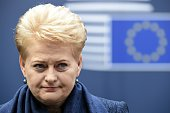 Lithuania's President Dalia Grybauskaite arrives for an European Council summit on March 19 2015 at the Council of the European Union Justus Lipsius...