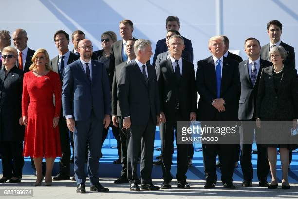 Lithuania's President Dalia Grybauskaite Croatian President Kolinda GrabarKitarovic Belgian Prime Minister Charles Michel Belgium's King Philip NATO...