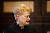 Lithuania's President Dalia Grybauskaite is welcomed by Ukrainian President Petro Poroshenko in Kiev Ukraine on March 21 2015 Lithuania's President...