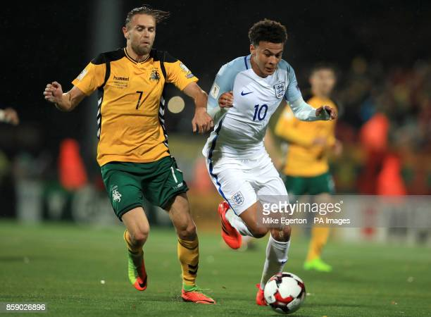 Lithuania's Vykintas Slivka and England's Dele Alli battle for the ball during the 2018 FIFA World Cup Qualifying Group F match at the LFF Stadium...