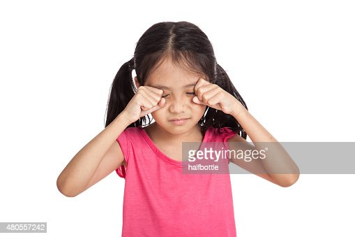 Little asian girl is sad and cry : Stock Photo