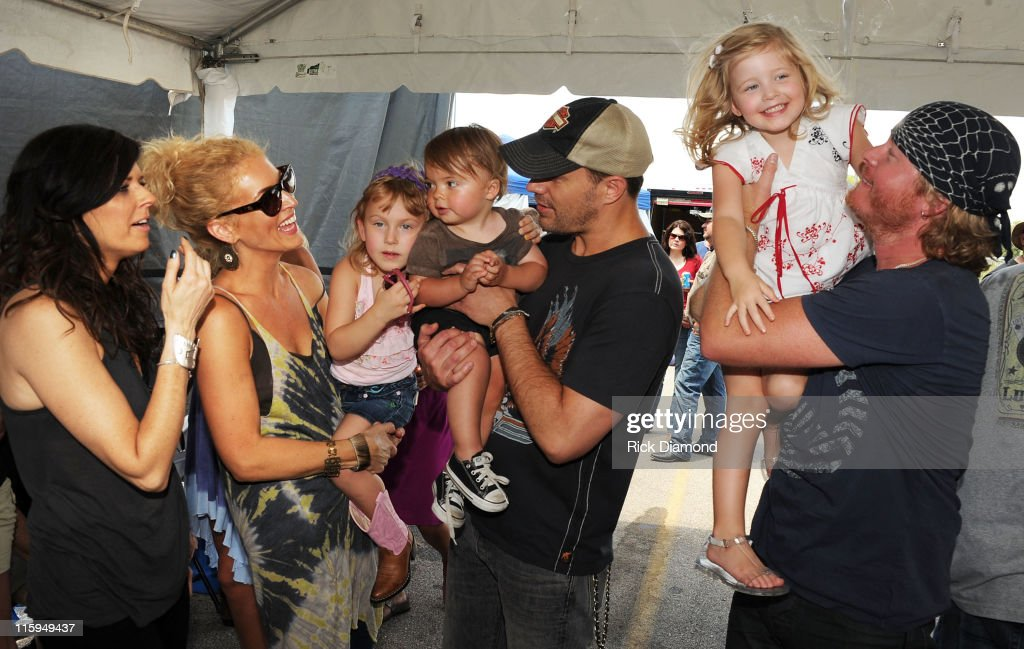 Little Big Town and Family Karen Fairchild Kimberly Schlapman Jimi Westbrook and Phillips Sweet backstage at the 5th annual Ride for a Cure Afternoon...