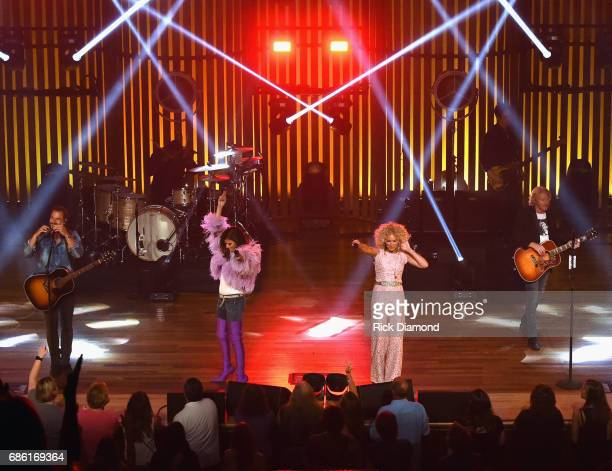 Little Big Town At The Mother Church Jimi Westbrook Karen Fairchild Kimberly Schlapman and Phillip Sweet perform at the Ryman Auditorium on May 20...