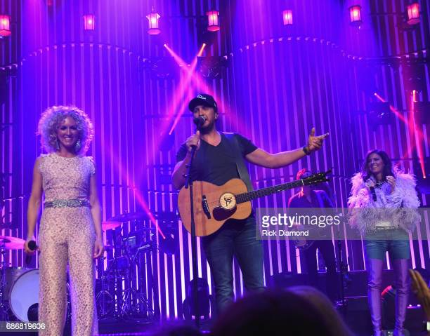 Little Big Town At The Mother Church Special Guest Luke Bryan joins Kimberly Schlapman and Karen Fairchild on stage at the Ryman Auditorium on May 20...