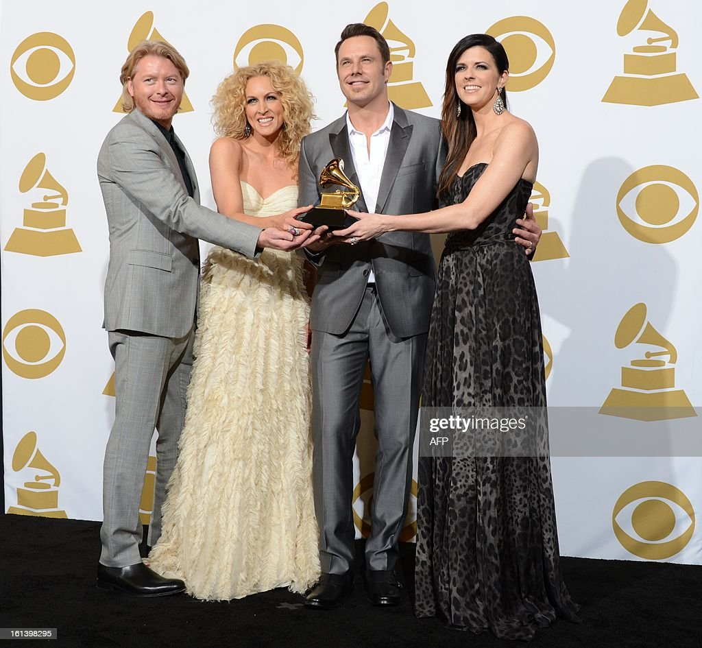 Little Big Town pose with the trophy for best Country duo/group performance for 'Pontoon' in the press room at the Staples Center during the 55th Grammy Awards in Los Angeles, California, February 10, 2013. AFP PHOTO Robyn BECK