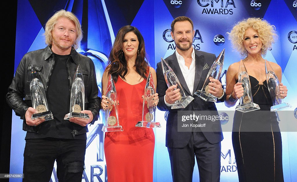 <a gi-track='captionPersonalityLinkClicked' href=/galleries/search?phrase=Little+Big+Town+-+Band&family=editorial&specificpeople=577176 ng-click='$event.stopPropagation()'>Little Big Town</a> poses in the press room at the 49th annual CMA Awards at the Bridgestone Arena on November 4, 2015 in Nashville, Tennessee.