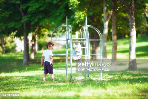 Little boy and girl playing : Stock Photo