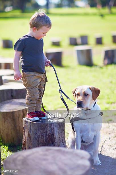 Little boy and his dog