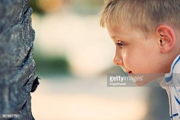 Little boy und das gehörnte Käfer