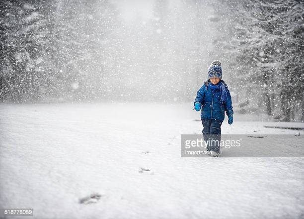 Little boy and the snow