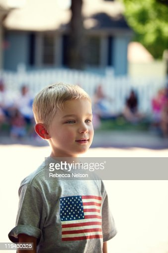 Little boy at Fourt of July parade : Stock Photo