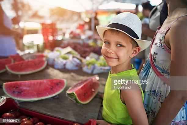 Little boy at the majorcan farmer's market