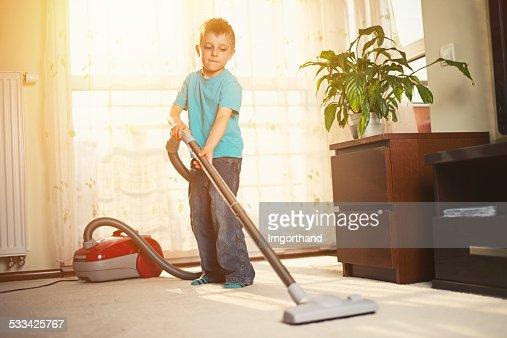 Little boy cleaning