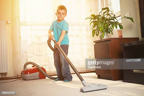 Little boy cleaning