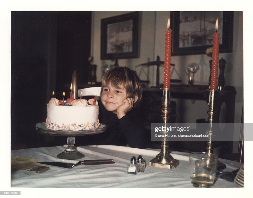 Little Boy Contemplating a Wish : Stock Photo