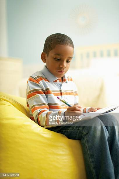 Little Boy Doing his Homework