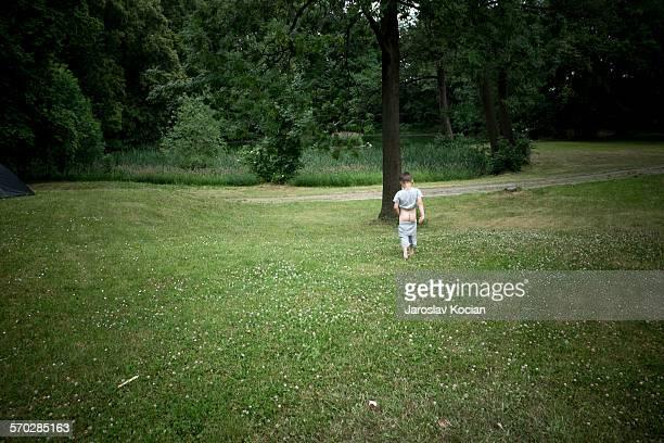 Little boy goes pee