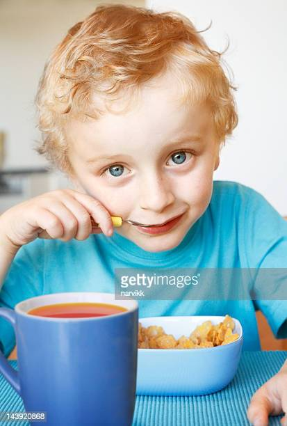 Little boy having a breakfast