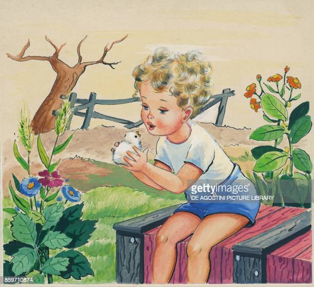 A little boy holding a chick in his hands children's illustration drawing