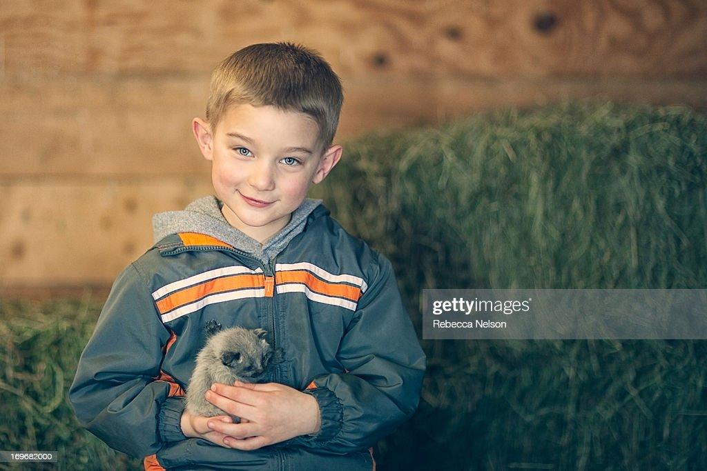 Little boy holding a kitten : Stock Photo