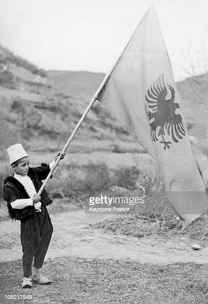 Little Boy Holding The Albanian Flag In Albania On April 8 1939
