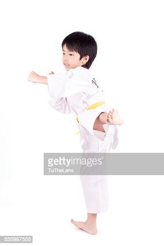 little boy in a Taekwondo suit : Stock Photo