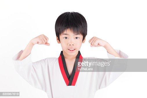little boy in a Taekwondo suit : Stock Photo